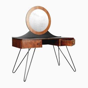 Tocador moderno Art Déco de nogal con espejo redondo, años 50
