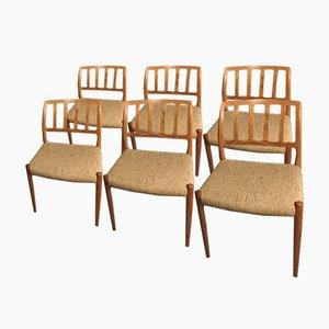 Dänische Modell 83 Esszimmerstühle aus brasilianischem Palisander von Niels O. Møller für J.L. Møllers Møbelfabrik, 1960er, 6er Set