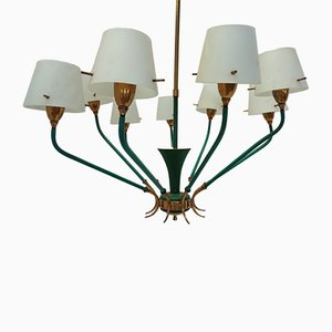 Italian 9-Light Ceiling Lamp in Brass & Opal Glass, 1950s