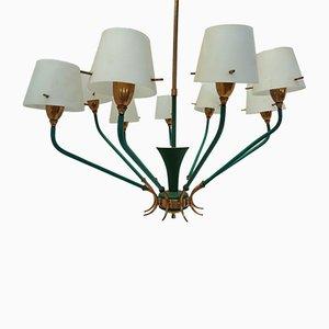 Italienische 9-Lampen Deckenlampe aus Messing & Opalglas, 1950er