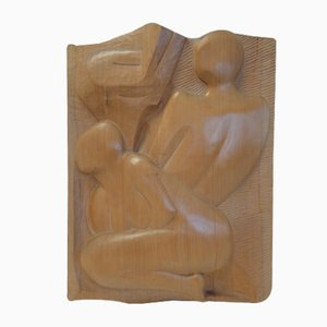 Escultura Bas-Relief de madera de Filippetti, 1975