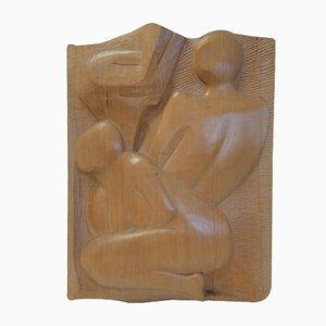 Hölzerne Bas-Relief Skulptur von Filippetti, 1975