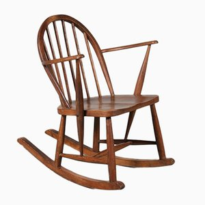 Scandinavian Oak Rocking Chair, 1940s