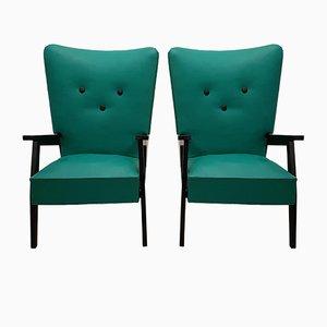 Grüne Vintage Armlehnstühle, 2er Set