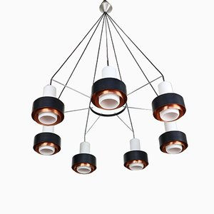 Mid-Century Chandelier in Opal Glass with Shades in Black & Copper, 1960s
