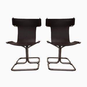 Chaises Cantilever Vintage en Cuir, Set de 2