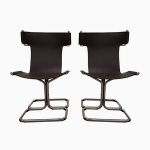 Vintage Leather Cantilever Chairs, Set of 2