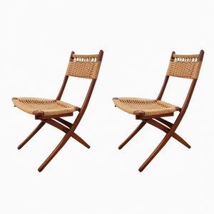 Mid-Century Danish Teak Rope Folding Chairs, 1960s, Set of 2