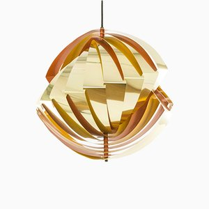 Konkylie Hängelampe in Gold & Orange von Louis Weisdorf für Lyfa, 1960er