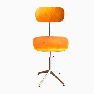 Industrieller Vintage Stuhl aus Schichtholz mit Eiche Furnier und Metallfuß