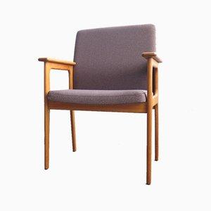 Dänischer Vintage Sessel aus Eiche mit braunem Stoffbezug