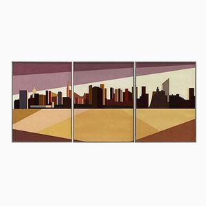 Triptych Serigraphie von Franco Costa, 1980er