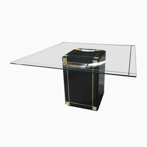 Italian Dining Table with Black Base and Glass Top, 1970s