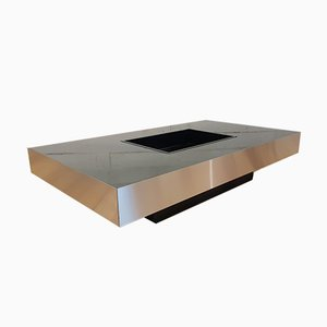 Black Rectangular Coffee Table by Willy Rizzo, France, 1970s
