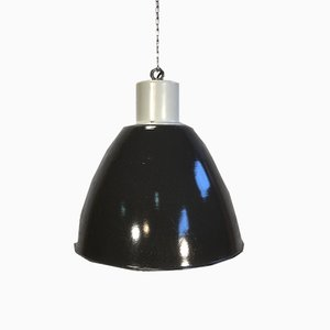 Industrial Black Enamel Factory Hanging Lamp, 1960s