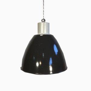 Lámpara colgante industrial esmaltada en negro, años 60
