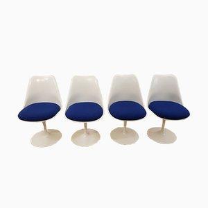 Chaises Tulipe Blanches par Eero Saarinen pour Knoll, 1960s, Set de 4