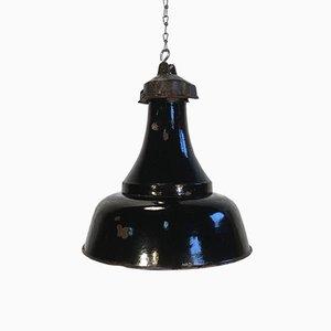 Industrielle Bauhaus Lampe aus schwarzer Emaille, 1920er