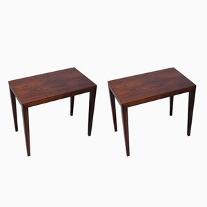 Tavolini in palissandro di Severin Hansen per Haslev Mobelsnedkeri, anni '60, set di 2