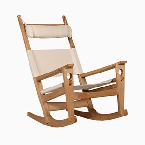 GE 673 Oak Rocking Chair By Hans J Wegner For Getama, 1970s