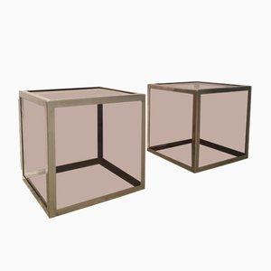 Mesas auxiliares cúbicas de acero cromado y plexiglás, años 70. Juego de 2