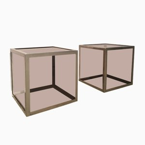 Tavolini Cube in plexiglass ed acciaio cromato, anni '70, set di 2