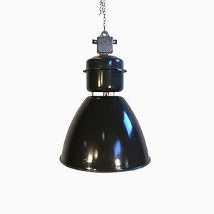 Grande Lampe d'Usine Industrielle Émaillée Noire de Elektrosvit, 1960s