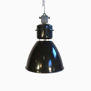 Große industrielle Fabriklampe aus schwarzer Emaille von Elektrosvit, 1960er