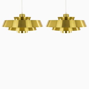 Brass Nova Pendant Lamps by Jo Hammerborg for Fog & Mørup, 1970s, Set of 2