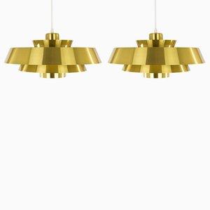 Brass Nova Pendant Lamps by Jo Hammerborg for Fog & Mørup, 1970s, Set of 2