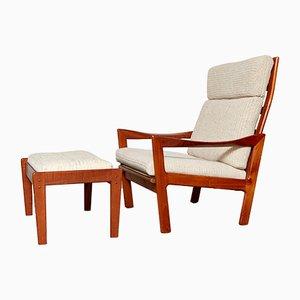 Mid-Century Sessel mit hoher Rückenlehne und Fußhocker von Illum Wikkelsø für Niels Eilersen