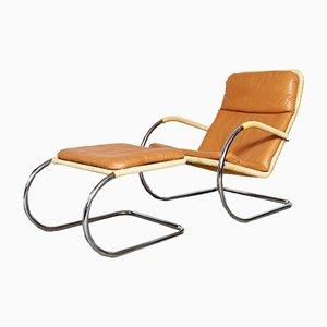 Silla Cantilever D35 Bauhaus vintage y otomana C35 de Anton Lorenz para Tecta