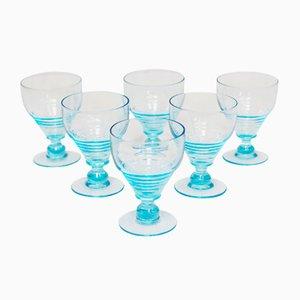 Vintage Art Deco Gläser in Blau, 1930er, 6er Set