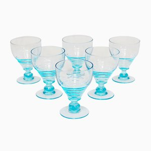 Vintage Art Deco Uranium Glasses, 1930s, Set of 6