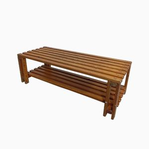 Wooden Slatted Bench, 1960s