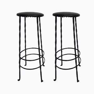 Vintage Bar Stools with Steel Frames & Skai Upholstery, Set of 2