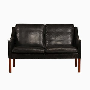 Danish 2208 Black Leather Sofa by Børge Mogensen for Fredericia, 1960s