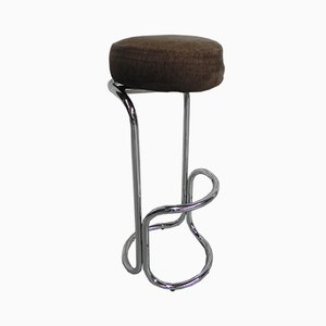Vintage Chromed Bar Stool with Rotating Seat