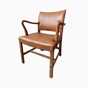 Danish Tan Leather & Walnut Armchair, 1930s