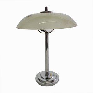 Lampada da tavolo Art Deco in metallo cromato e vetro, anni '20