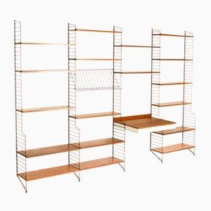 Estantería de pared vintage de teca con base vertical y escritorio