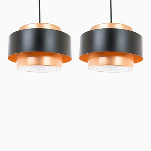 Juno Copper-Colored Pendant Lamps by Jo Hammerborg for Fog & Mørup, 1960s, Set of 2