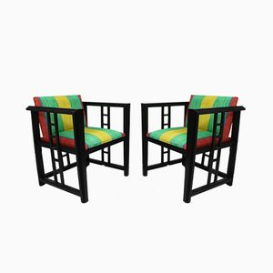 Hölzerne Sessel mit gestreiften Bezügen, 1970er, 2er Set