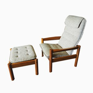 Danish Modern Teak Chair & Ottoman with Beige Upholstery from Domino Mobler, 1980s