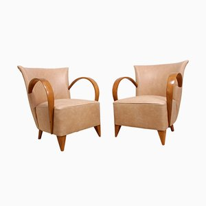 French Art Deco Leather Chairs, 1920s, Set of 2
