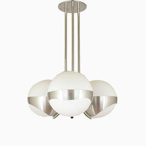 Italian Metal & Glass Ceiling Lamp from Lamperti, 1970s