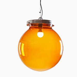 Large Amber Glass Globe Pendant Lamp, 1970s