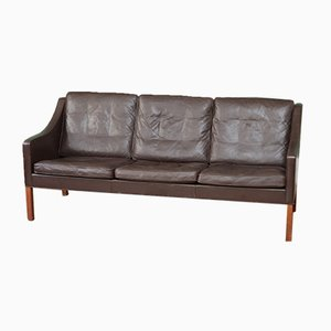 Model 2209 3-Seater Leather Sofa by Børge Mogensen for Fredericia, 1970s
