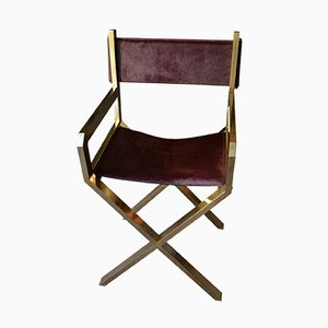 French Brass & Purple Calf Leather Director's Chair, 1970s