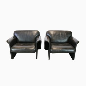 Black DS 125 Leather Lounge Chairs by Gerd Lange for de Sede, 1978, Set of 2